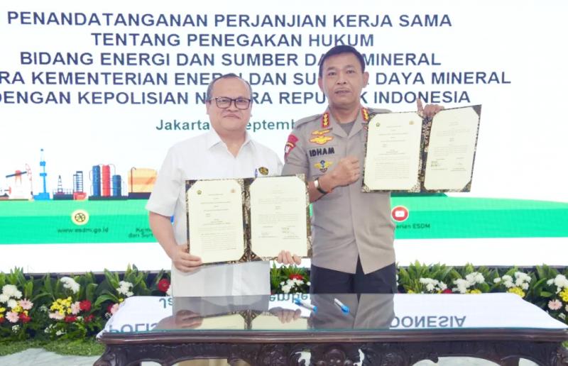 Perkuat Penegakan Hukum, Kementerian ESDM & Polri Teken PKS