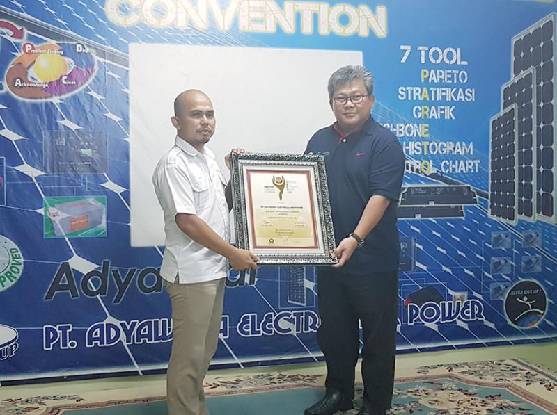 Raih The Best Supporting Company Ligthing, Adyawinsa Dihadiahi Piagam