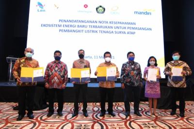 Photo of Dukung Energi Terbarukan, DEN, Bank Mandiri, Len Agra Energy Lakukan MoU