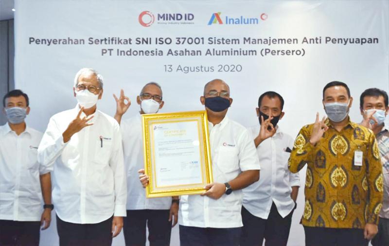 INALUM Peroleh Sertifikasi SNI ISO 37001, Terapkan Sistem Anti Suap