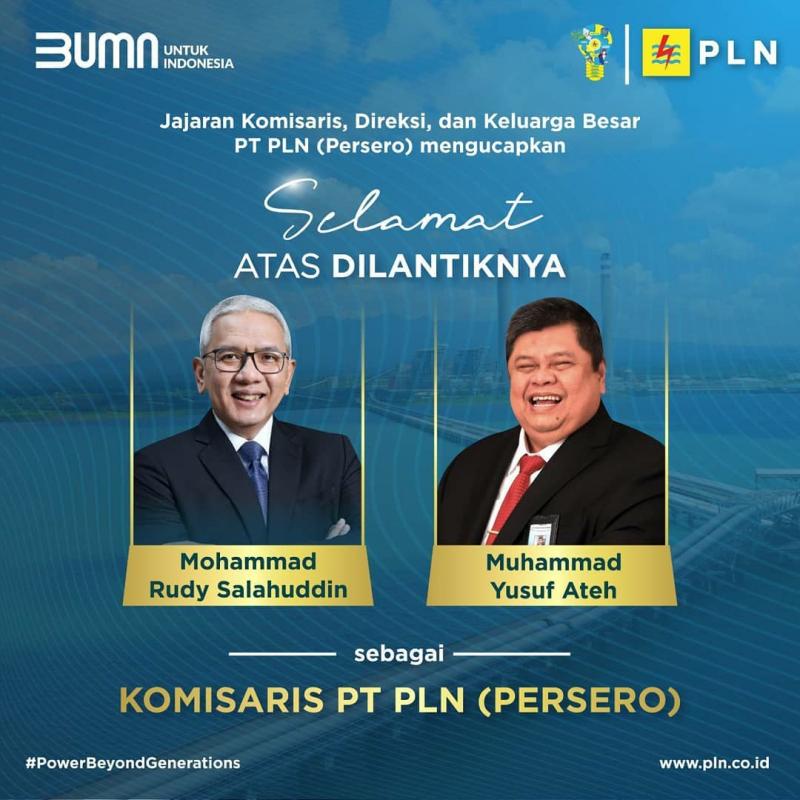Sah, Muhammad Yusuf Ateh dan Mohammad Rudy Salahuddin Sebagai Komisaris PLN